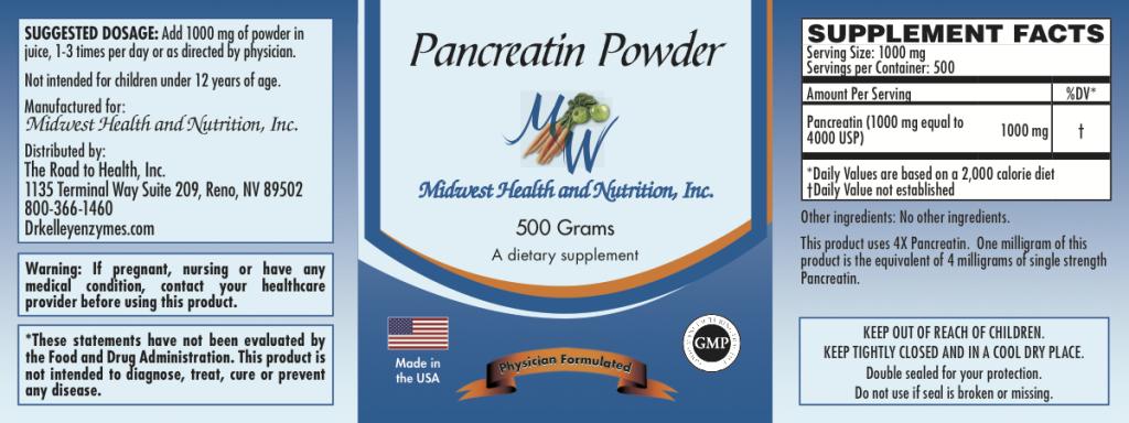 Pancreatin Powder Bulk 500g 4x
